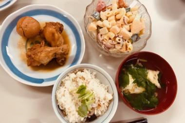 鯛めしと柿サラダ(*^^)v